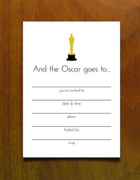 free oscar party printables kait bos party invitations ideas