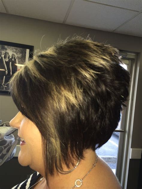 asymetrical ans stacked hairstyles tight asymmetrical stack with added highlights for