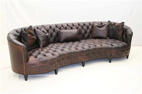curved leather couch curved tufted leather sofa old hickory tannery furniture