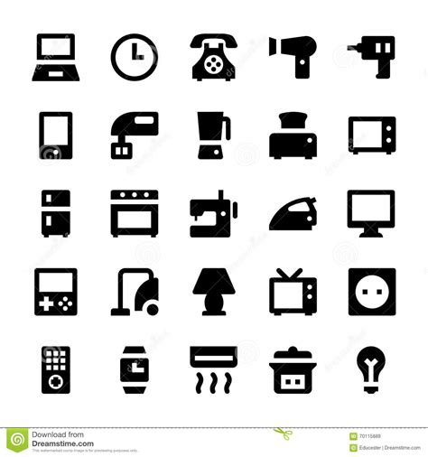 vintage home appliances icons stock vector illustration home appliances vector icons 1 stock illustration image