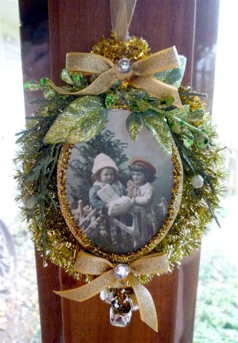 vintage inspired gold tinsel ornament   perfect