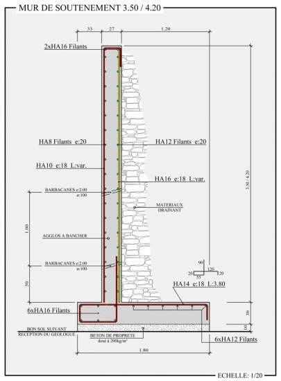 ferraillage mur de soutenement 4933 exemple de plan de ferraillage d un mur de sout 233 nement en