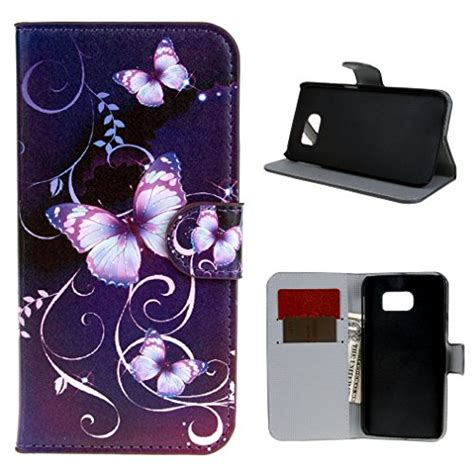 Bagstrap Flower Pu Leather Import for galaxy s6 leathlux purple flower wallet pu leather