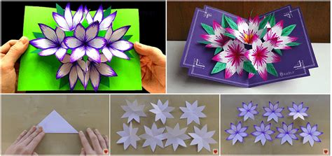 Origami Flower Pop Up Card - how to make an origami flower pop up card style by