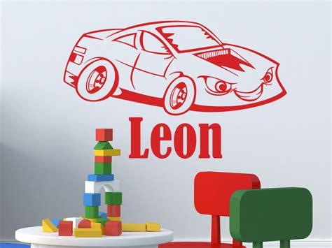 Wandtattoo Kinderzimmer Auto by Kinder Wandtattoo Witziges Rennauto Mit Wunschname