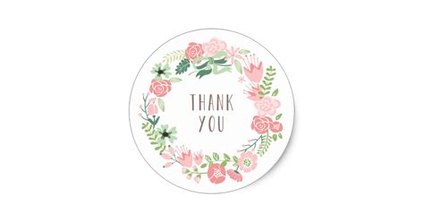 Thank You Stickers floral wreath thank you stickers zazzle