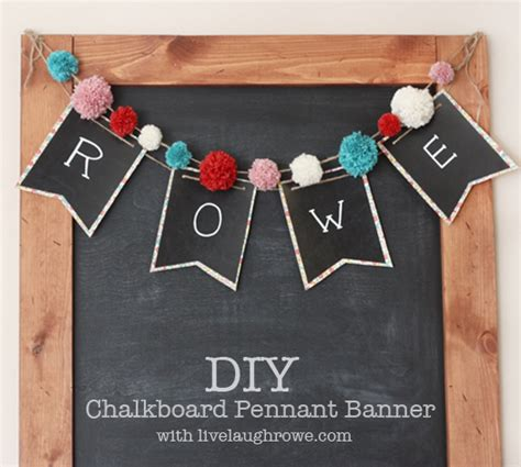 How To Make A Paper Pennant Banner - diy chalkboard pennant banner livelaughrowe