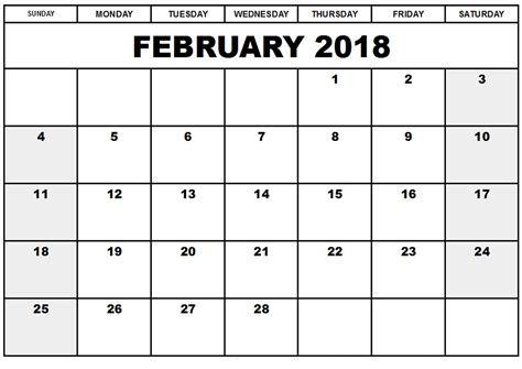 printable calendar layout free february 2018 printable calendar template free