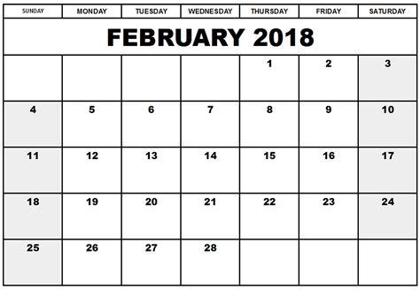 february printable calendar template