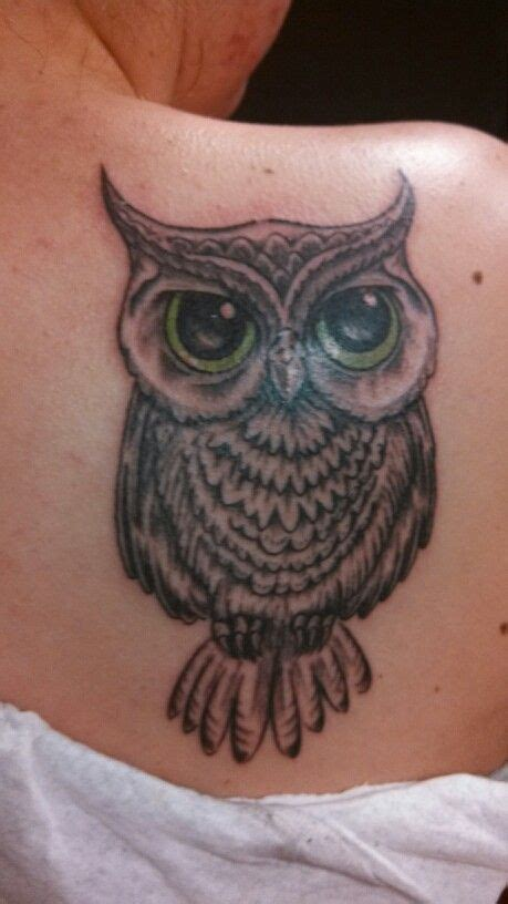 owl tattoo with green eyes sons tat and brown eyes on pinterest