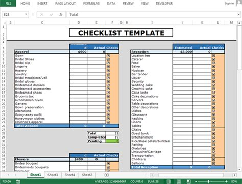 how to create a template in excel how to use checkboxes to create checklist template in