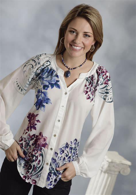 Wst 19210 Flower Embroidered Blouse roper 174 s white floral print georgette sleeve