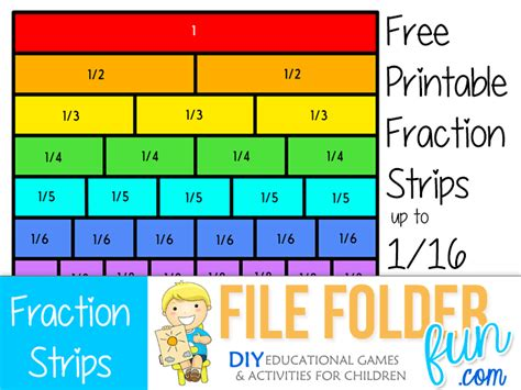 printable games for fractions free printable fraction strips our free printable
