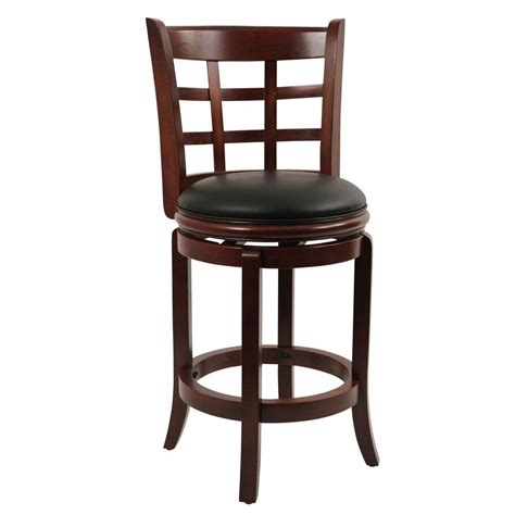 boraam kyoto 24 in cherry swivel cushioned bar stool