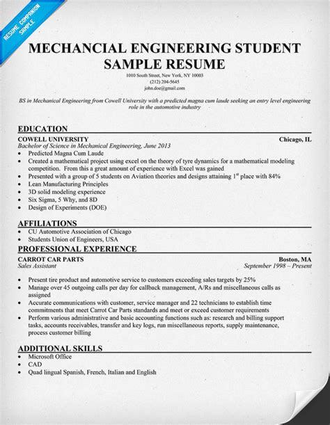 Resume Format For Engineering Students For Internship free resume sles for mechanical engineers
