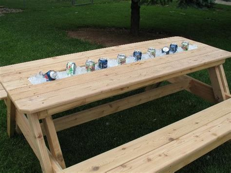 rain gutter picnic table juast add ice  lay  candles