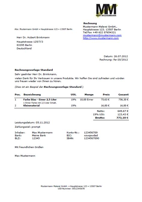 Muster Rechnungsvorlagen Rechnungsvorlagen Muster Beispiele Information