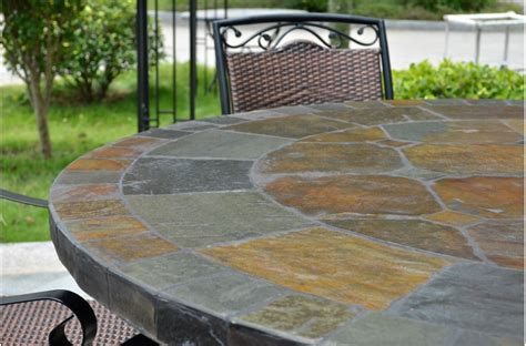 Mosaic Top Patio Table 125 160cm Slate Patio Dining Table Tiled Mosaic Oceane