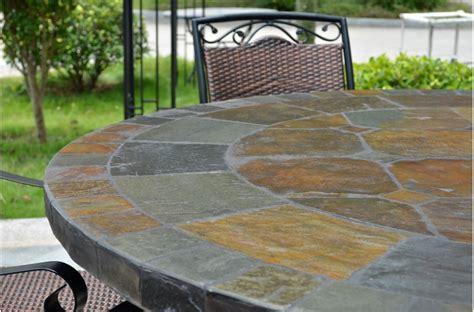 125 160cm Round Slate Patio Dining Table Tiled Mosaic   OCEANE
