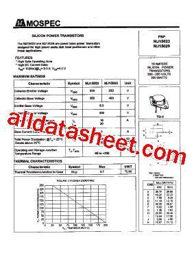 mj15023 datasheet pdf mospec semiconductor
