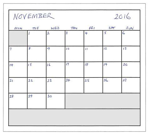 November Calendar Calendar Planner November 2016