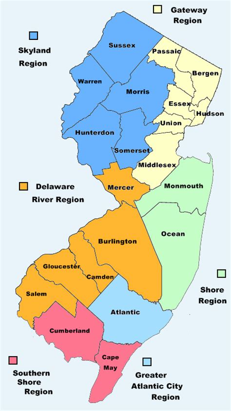 nj counties map map of new jersey nj county map new jersey state map of nj counties and regions