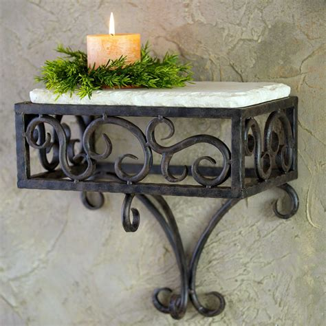 pictured here is the wrought iron siena wall shelf by
