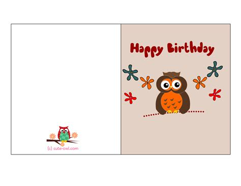 Birthday Card To A Free Printable Cute Owl Birthday Cards