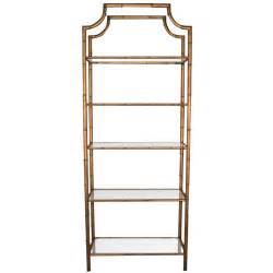 Antique Brass Etagere Hollywood Regency Gilt Metal Faux Bamboo Pagoda Etagere At