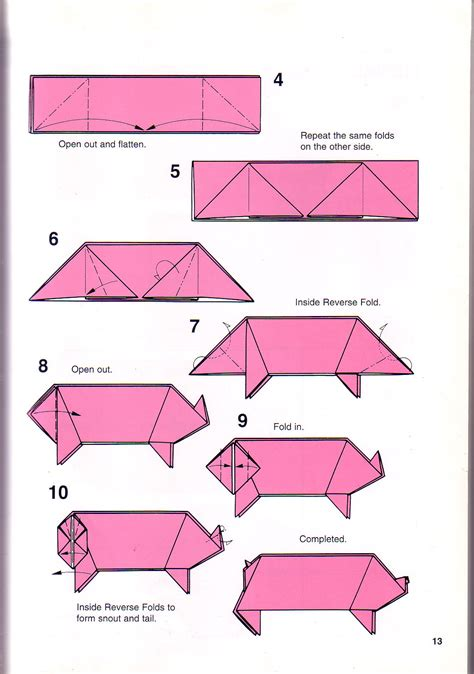 Easy Origami Pig - simple pig origami 1 papes