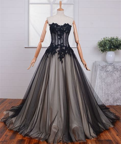 black prom dresses corset ball gown strapless see through black tulle lace beaded