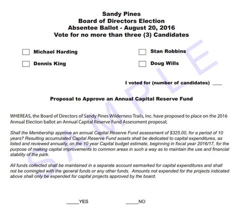 ballot template annual elections pines
