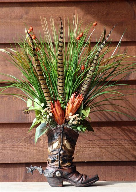 cowboy decorations for home handmade western floral flower arrangement cowboy boot home decor projects to try