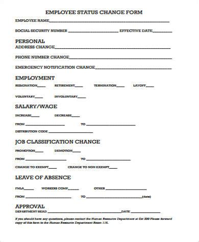 11 Sle Employee Change Forms Sle Templates Change Template