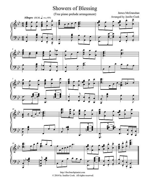 There Shall Be Showers Of Blessing Keyboard Chords by The Church Pianist 187 Free Piano Arrangement