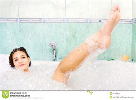 women bathtub woman enjoy bath foam in the bathtub stock image image