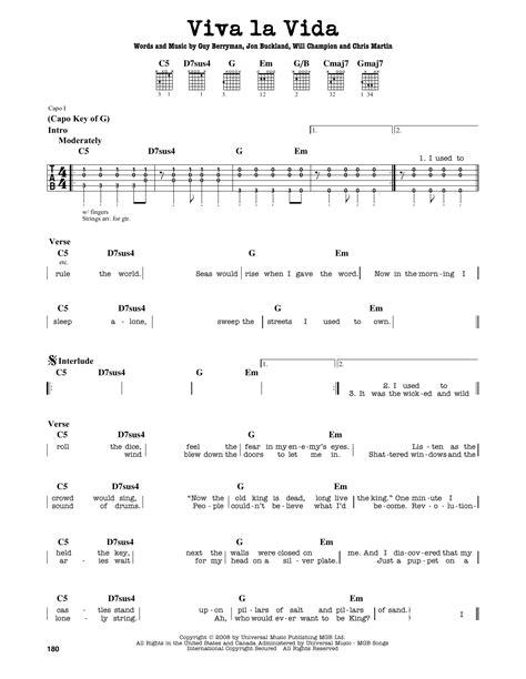 guitar tutorial viva la vida viva la vida sheet music by coldplay guitar lead sheet