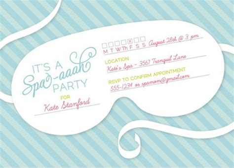 spa invitations templates free spa themed bridal shower ideas