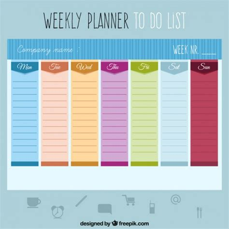 daily planner template ai colored weekly planner to do a list vector free download