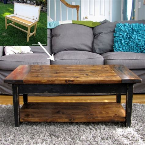 hometalk upcycled piano bench to coffee table