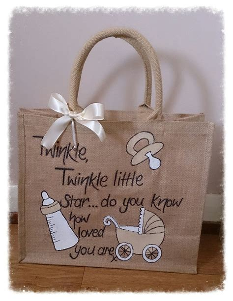 unisex gifts new baby large jute bag with gifts included unisex