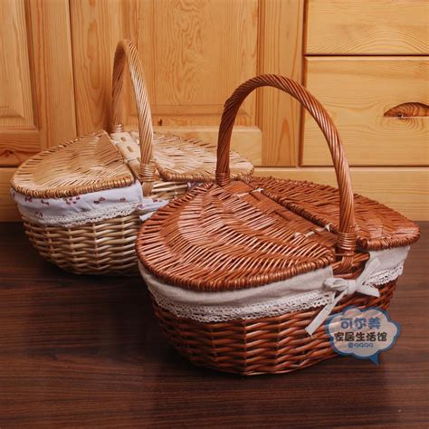 Handmade Willow Baskets - 2015 new handmade rattan picnic basket storage cassette