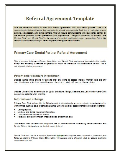 referral agreement template by agreementstemplates org