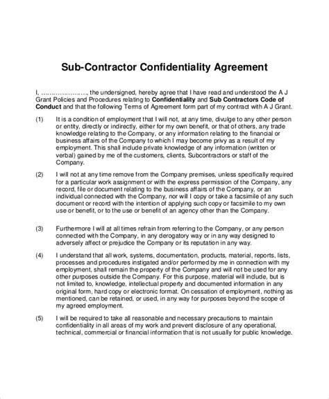 contractor confidentiality agreements contractor confidentiality agreement 10 free word pdf