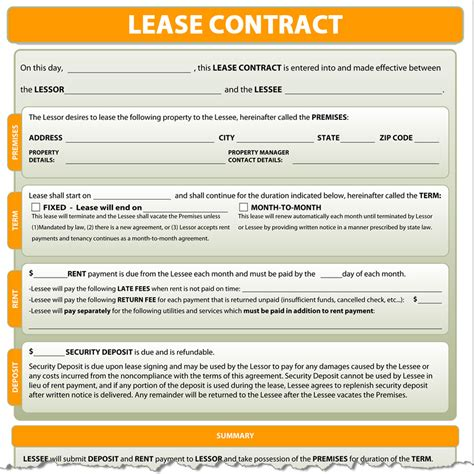 lease agreement contract lease contract