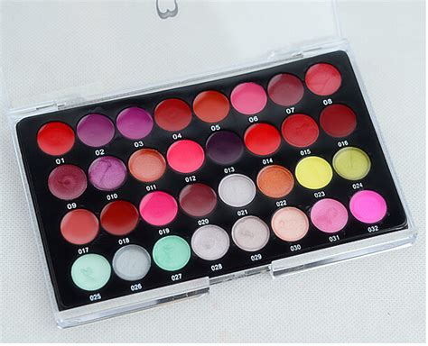 Diskon Make Lip Color Palette professional makeup 32 color lip gloss palette lip balm moisturizing make up genuine lasting
