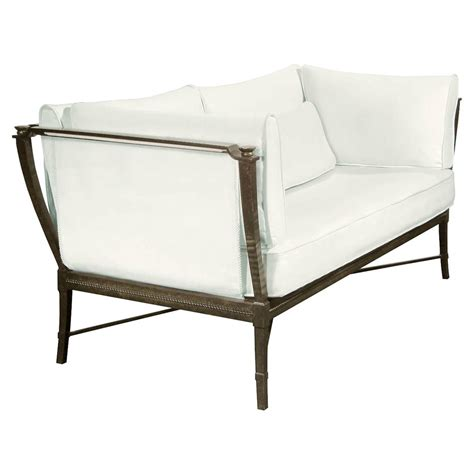 outdoor metal sofa jane modern french metal white outdoor loveseat sofa