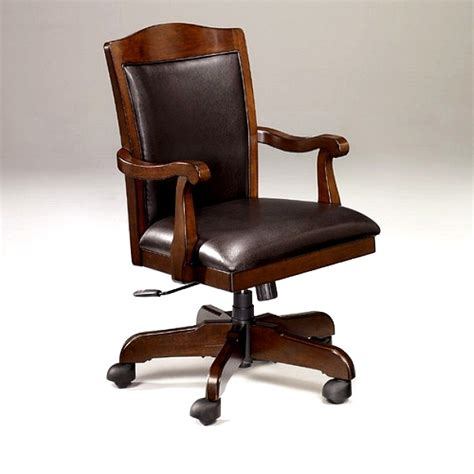 Wood And Leather Desk Chair by Mission Furniture Shaker Craftsman Furniture