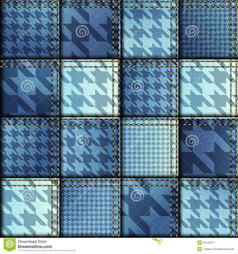 Denim Patchwork Fabric - patchwork of denim fabric stock vector image 52134217