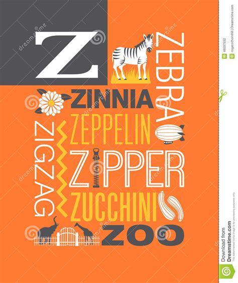 the illustrated a z of letter z words typography illustration alphabet poster design stock vector image 46597532